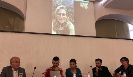Un moment de la presentació del llibre 'Llibertat d'excepció', de Beatriz Talegón.