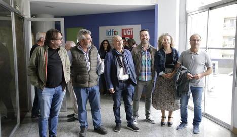 Camil Ros i Josep Maria Àlvarez van visitar ahir la seu d'UGT de Lleida.