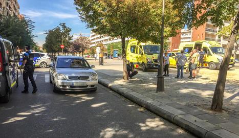 La Urbana a la zona poc després de l'accident.