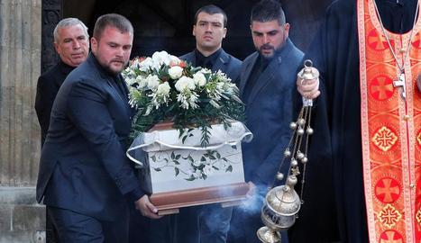 Enterrament de la periodista búlgara Viktoria Marinova, ahir.