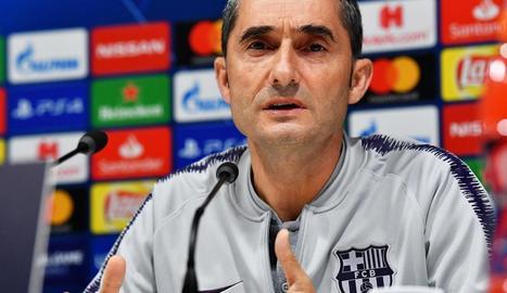 El tècnic Ernesto Valverde, ahir durant la compareixença davant els mitjans de comunicació.