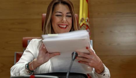 La presidenta d'Andalusia, Susana Díaz, ahir, al Senat.