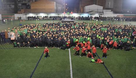 Un moment de la presentació, ahir, dels equips de la Unió Esportiva Bordeta per aquesta temporada.