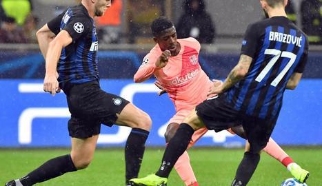 Dembélé, dimarts durant el partit contra l'Inter de Milà.