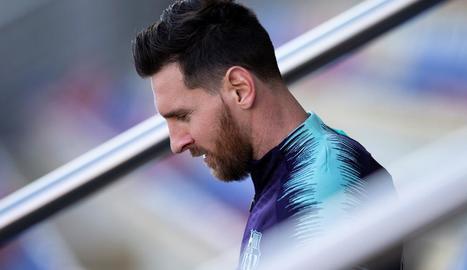 Leo Messi ahir durant l'entrenament a la Ciutat Esportiva de Sant Joan Despí.