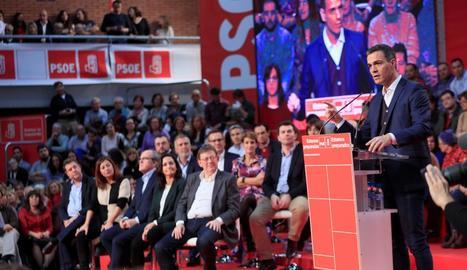 El president del Govern, Pedro Sánchez, ahir, a Fuenlabrada.