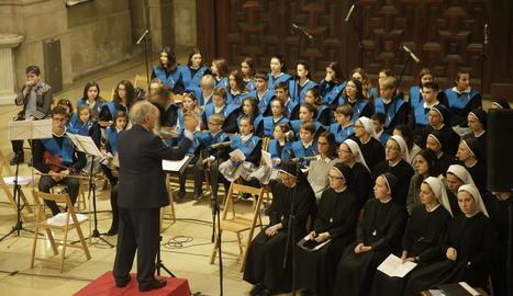 Un moment de l'eucaristia que va tenir lloc a la catedral de Lleida.