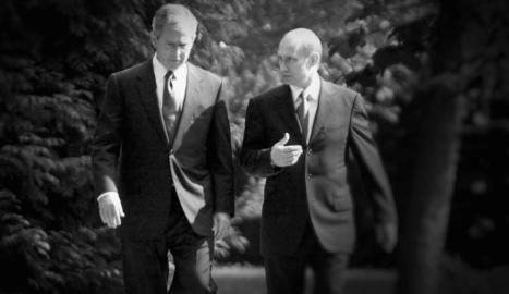 L'expresident dels EUA Bush amb el seu homòleg rus, Putin.