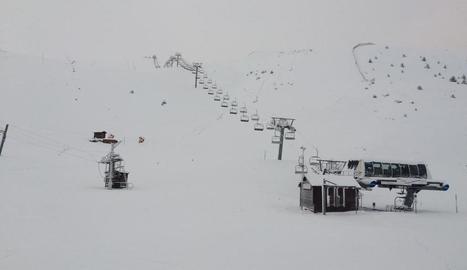 Imatge de la neu que s'acumulava la setmana passada a l'estació de Boí Taüll.