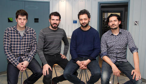 El grup, l'any passat a Lleida TV, amb Eduard Costa (dreta).