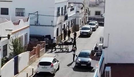 Agents policials traient el cadàver de la dona de la casa.
