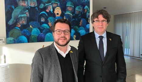 Quim Torra i Iñigo Urkullu, en la roda de premsa oferta ahir després de reunir-se a Vitòria.