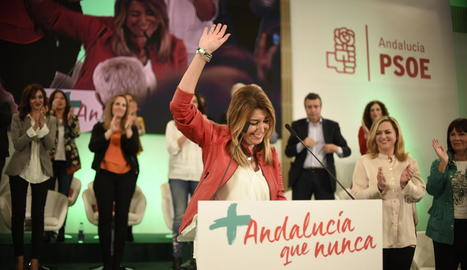 La presidenta andalusa, Susana Díaz, en un acte de precampanya dels comicis regionals.