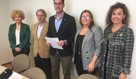 La roda de premsa del grup municipal del PDeCAT i Unió.