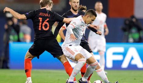 Una acció del Croàcia-Espanya de dijous passat.