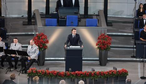 El president francès, ahir al Parlament alemany.