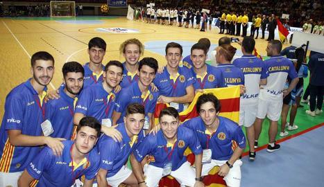 La selecció catalana, a la cerimònia d'inauguració.