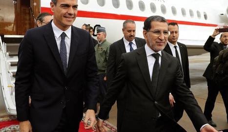 El president del Govern, Pedro Sánchez, amb el primer ministre marroquí, Saadeddine el-Othmani.