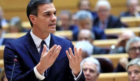 Imatge del president espanyol, Pedro Sánchez, a la sessió de control a l'Executiu al Senat, ahir.