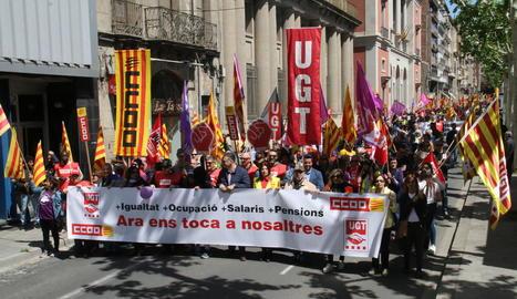 Manifestació del passat 1 de maig a Lleida per defensar, entre altres punts, salaris dignes.