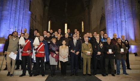 Alguns dels condecorats ahir a la celebració de la patrona de la Guàrdia Urbana.