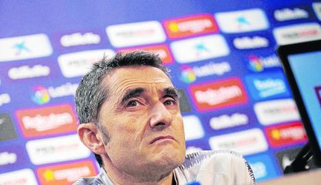 Ernesto Valverde durant la roda de premsa prèvia al partit.