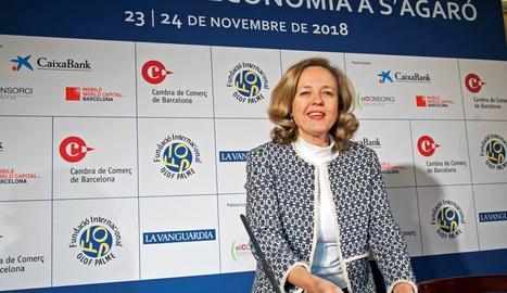 La ministra d'Economia, Nadia Calviño, ahir a la XXIII Trobada d'Economia de S'Agaró.