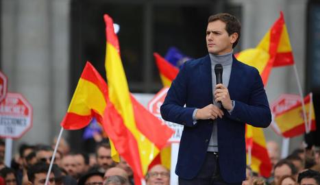 El president de Ciutadans, Albert Rivera, ahir a Madrid.