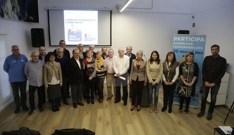 Els impulsors del Gran Recapte a Lleida, ahir a la presentació de la campanya 2018.
