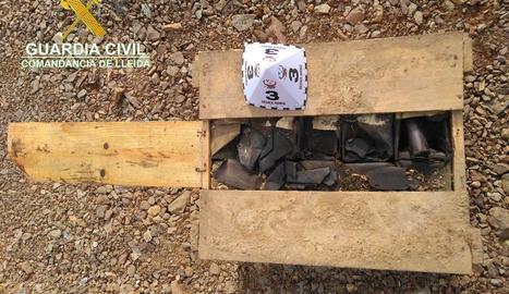 El material explosiu localitzat a Bellver de Cerdenya.