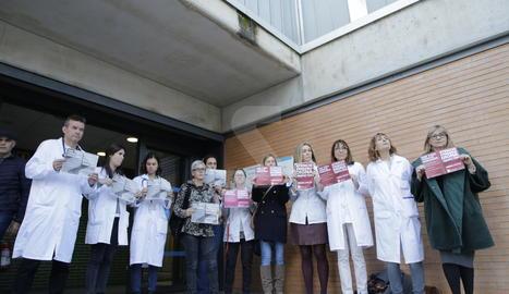 Professionals del CAP de la Mariola de Lleida aquest dimarts.