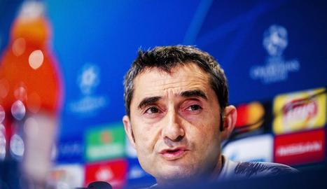 Ernesto Valverde, ahir durant la compareixença davant dels mitjans.