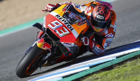 Marc Màrquez, durant el test d'ahir al circuit de Jerez.