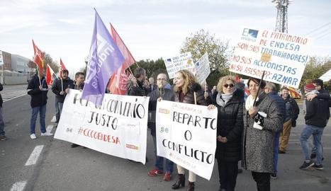 Un moment de la protesta duta a terme ahir.