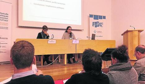 Un moment de la ponència d'Aina Gomà, ahir a Lleida.