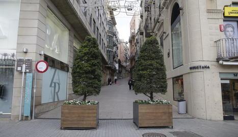 Dos jardineres situades a la cruïlla de l'avinguda Blondel amb el carrer Cavallers.