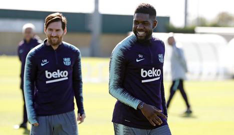 Messi i Umtiti, ahir durant la sessió d'entrenament.