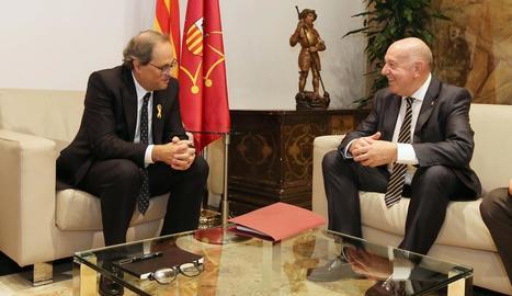 El president de la Generalitat, ahir, amb el síndic d'Aran.