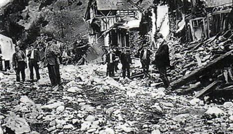 Imatge del resultat de les inundacions a Esterri el 1937.