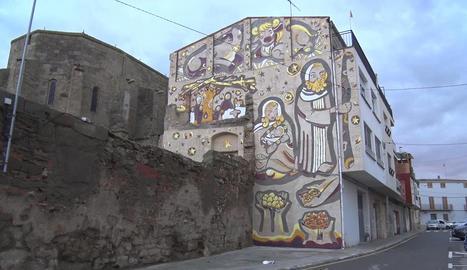 El nou mural que decorarà el pessebre vivent.