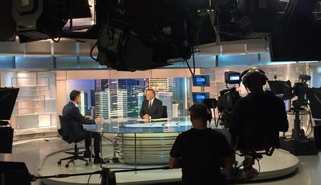 Pedro Sánchez, ahir a la nit durant l'entrevista a Telecinco.