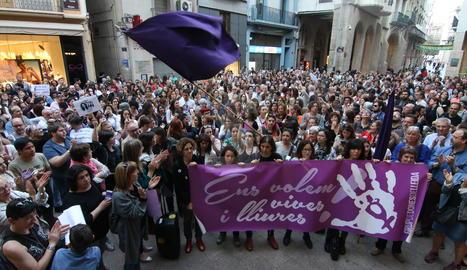 Una protesta a Lleida contra la sentència de La Manada.