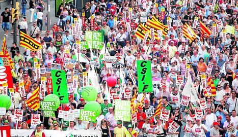 Imatge d'arxiu d'una vaga de funcionaris a Lleida.