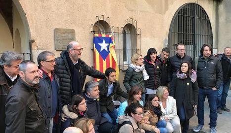 Imatge dels consellers i diputats sobiranistes, entre ells el lleidatà Marc Solsona, ahir.