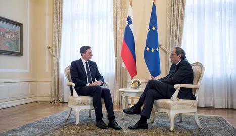 Quim Torra, durant la reunió amb el president d'Eslovènia, Borut Pahor.