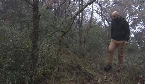 Santi Arroyo, en un bosc de la Segarra, ha denunciat la mort del seu gos d'un tret.
