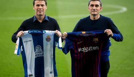 Els tècnics de l'Espanyol, Rubi, i del Barça, Valverde, van posar ahir en un clima de cordialitat.