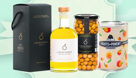 El lot de Nadal de Fruits de Ponent amb l'oli, les olives i el préssec amb almívar.