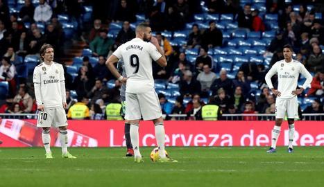 Els jugadors del Reial Madrid no podien amagar la decepció.