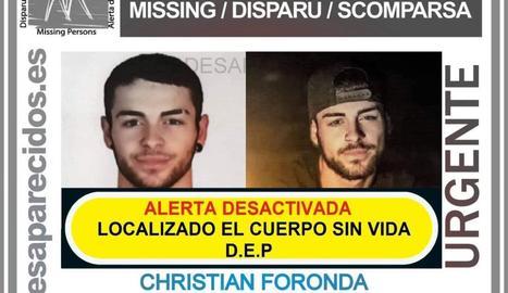 Christian Foranda, el jove desaparegut el 30 de novembre